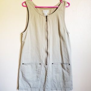 Vintage Pinafore Style Khaki Mini Dress